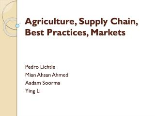 Agriculture, Supply Chain, Best Practices, Markets