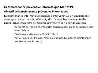 La Maintenance préventive informatique Mac et  PC