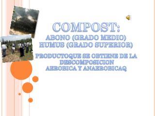 COMPOST: ABONO (GRADO MEDIO) HUMUS (GRADO SUPERIOR)