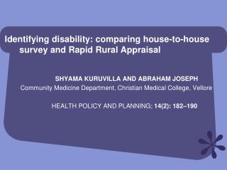 Identifying disability: comparing house-to-house         survey and Rapid Rural Appraisal