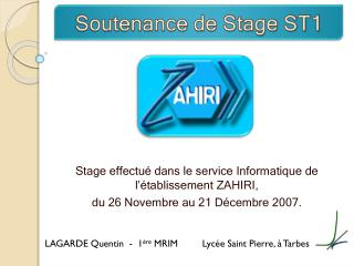 Soutenance de Stage ST1