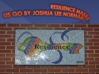 RESILIENCE MAKES  US GO BY JOSHUA LEE NORMAN