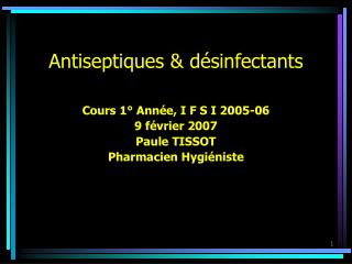 Antiseptiques  d sinfectants
