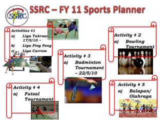SSRC – FY 11 Sports Planner
