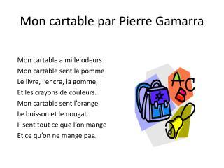 Mon cartable par Pierre  Gamarra