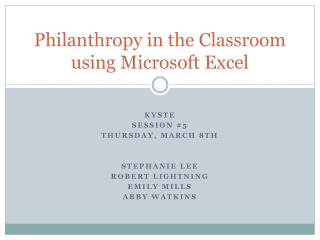 Philanthropy in the Classroom using Microsoft Excel