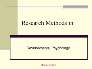 Research Methods in