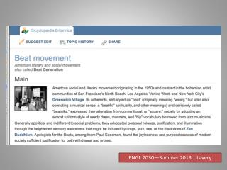 ENGL 2030—Summer 2013 | Lavery