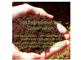 Soil Degradation and Conservation