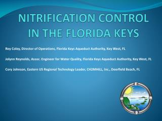 NITRIFICATION CONTROL  IN THE FLORIDA KEYS