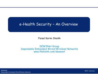 e-Health  Security – An Overview