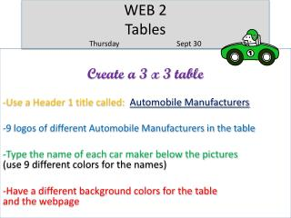 WEB 2  Tables Thursday		Sept 30
