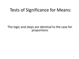 Tests of Significance for Means: