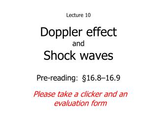 Doppler effect and Shock waves