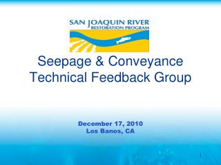 Seepage & Conveyance Technical Feedback Group