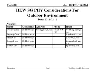 HEW SG PHY Considerations For Outdoor Environment