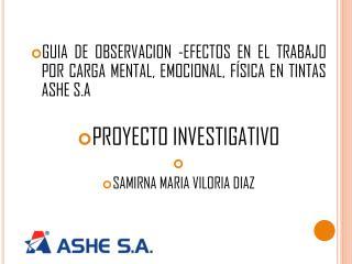 GUIA DE OBSERVA CION -EFECTOS EN EL TRABAJO POR CARGA MENTAL, EMOCIONAL, FÍSICA EN TINTAS ASHE S.A