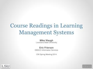 Course Readings in Learning Management Systems