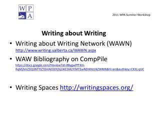 2011 WPA Summer Workshop