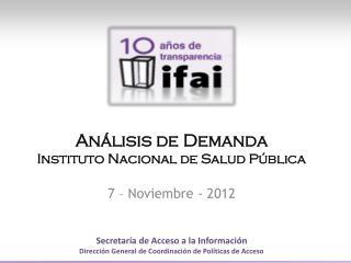 Análisis de  Demanda Instituto Nacional de Salud Pública