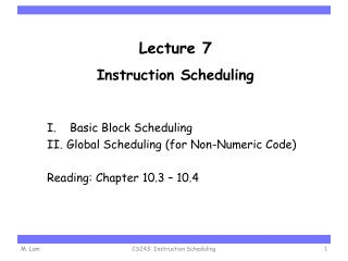 Lecture 7 Instruction Scheduling