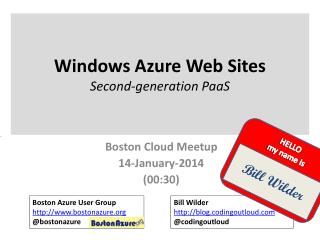 Windows Azure Web Sites Second-generation  PaaS