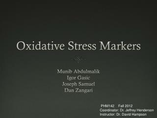 Oxidative Stress Markers