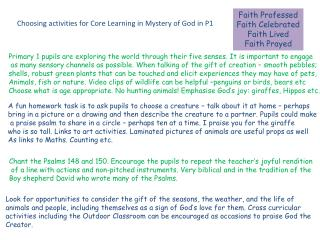 Faith Professed Faith Celebrated Faith Lived Faith Prayed