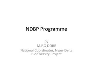 NDBP  P rogramme