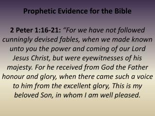 Prophetic Evidence for the Bible