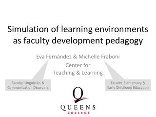 Simulation of learning environments as faculty development pedagogy