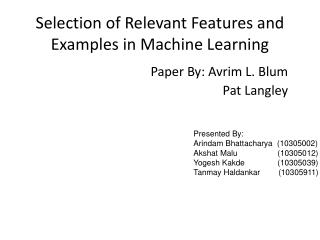 Selection of Relevant Features and Examples in Machine Learning
