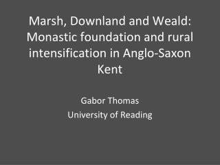 Marsh,  Downland  and Weald:  Monastic foundation and rural intensification in Anglo-Saxon Kent