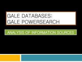 GALE Databases: Gale  powersearch