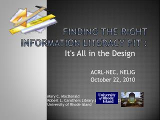 Finding the Right Information Literacy Fit :