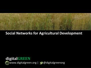Social Networks for Agricultural Development