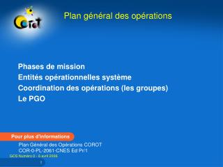 Phases de mission  Entit s op rationnelles syst me  Coordination des op rations les groupes  Le PGO
