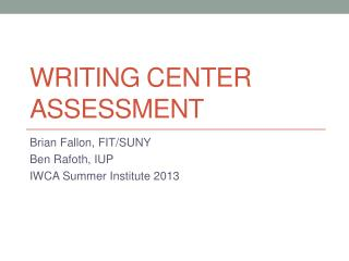 Writing Center Assessment