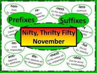 Nifty, Thrifty Fifty November