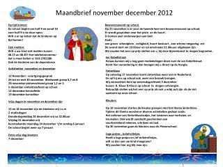 Maandbrief november december 2012