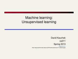 Machine learning: Unsupervised learning