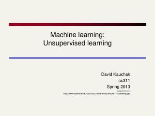 Machine learning: Unsupervised learning