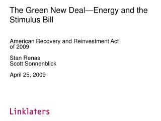 The Green New Deal Energy and the Stimulus Bill