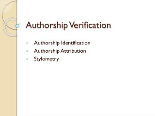 Authorship Verification