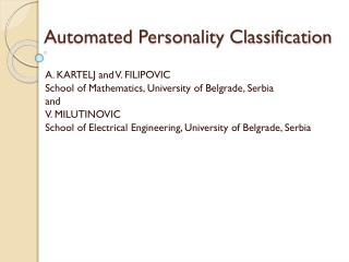 Automated Personality Classification