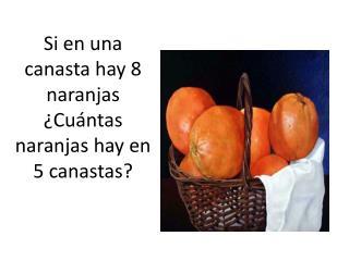 Si en una canasta hay 8 naranjas ¿Cuántas naranjas hay en 5 canastas?