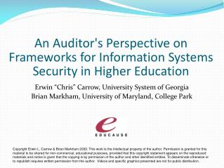 An Auditors Perspective on Frameworks for Information Systems Security in Higher Education