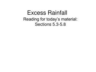 Excess Rainfall