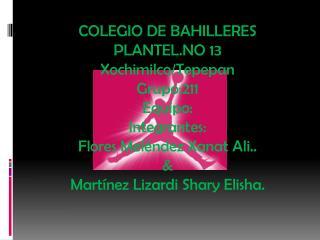 COLEGIO DE BAHILLERES PLANTEL.NO 13 Xochimilco/ Tepepan Grupo:211 Equipo: Integrantes: