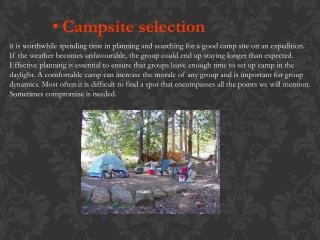 Campsite selection